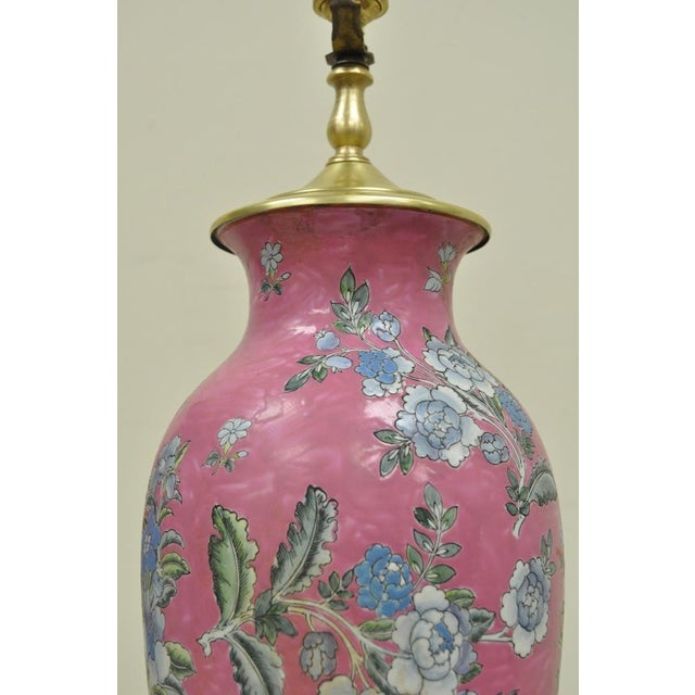 Mid 20th Century Pair of Vintage Oriental Heyward House Brass Ceramic Pink Floral Table Lamps For Sale - Image 5 of 11