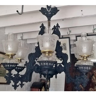 19c Bradley & Hubbard Cast Iron 6 Arm Chandelier Preview