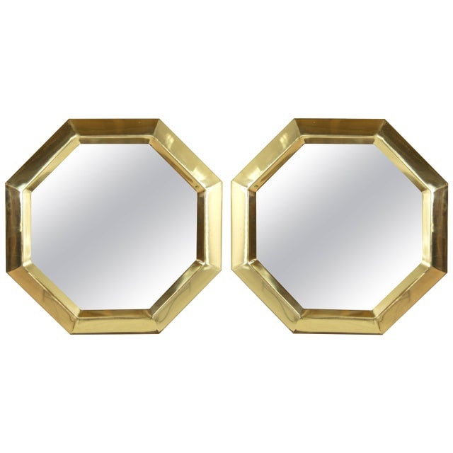 Gold 1950s Octagonal Brass Frame Mirrors - a Pair For Sale - Image 8 of 8