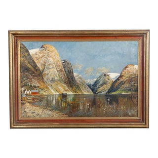 Antique Norwegian Oil Painting on Canvas of the Fjords by Becher C.1930 For Sale