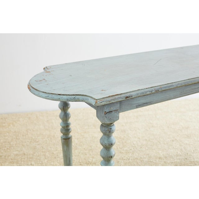 Robin's Egg Blue Painted Console Sofa Table For Sale - Image 4 of 13