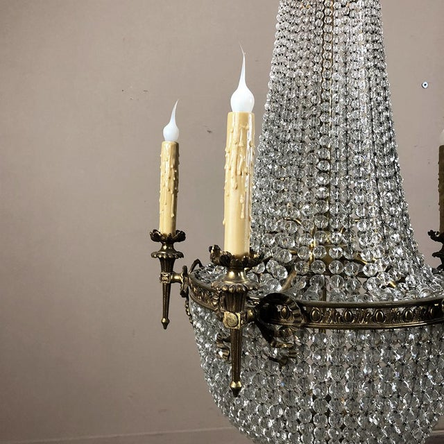 Antique Sack of Pearls Crystal Chandelier For Sale - Image 4 of 13