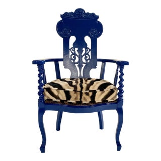 Renaissance Revival Armchair With Zebra Hide Cushion For Sale