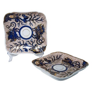 """1820 Square """"Dragon"""" Dishes by Coalport - a Pair For Sale"""