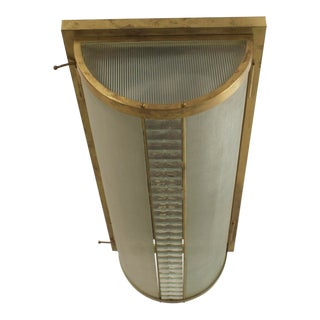 French Art Deco Flush Mounted Brass Framed Ceiling Fixture For Sale