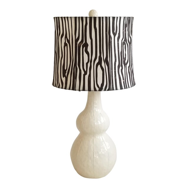Handmade Ceramic Lamp and Shade For Sale