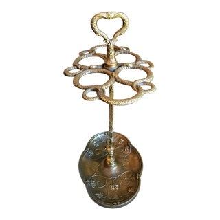 19th Century French Victorian Art Nouveau Gilt Bronze Umbrella Stand For Sale