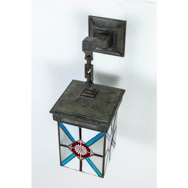 Blue, White & Deep Red Stained Glass & Bronze Lantern Sconce For Sale - Image 9 of 12