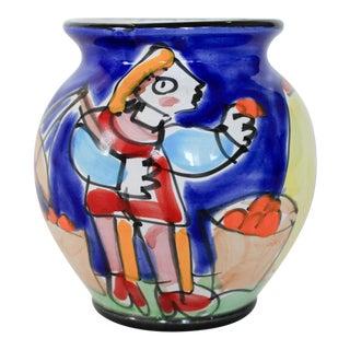 Petite Hand Painted Italian Vase For Sale