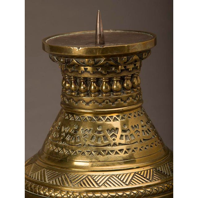 19th Century English Large Scale Arts and Crafts Period Cast Brass Pricket Candle Stand For Sale In Houston - Image 6 of 6