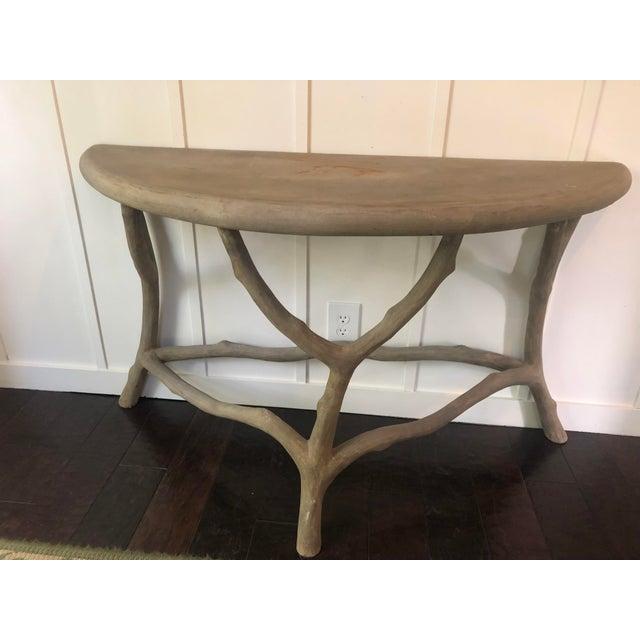 2000 - 2009 Modern Cast Stone Concrete Faux Bois Demilune Console Table For Sale - Image 5 of 9