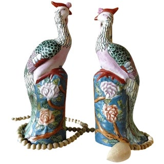 1960s Mid Century Famille Rose Chinese Export Porcelain Phoenix Birds -- a Pair