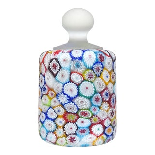 Fratelli Toso Murano Vintage Millefiori Flower Mosaic Italian Art Glass Paperweight For Sale