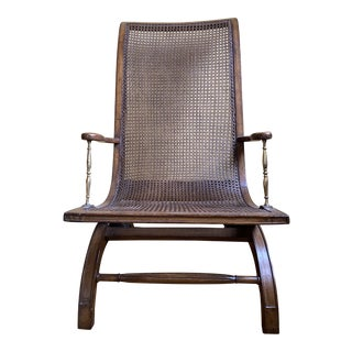 Antique Campaign-Style Cane Chair For Sale