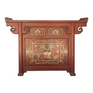 Chinese Distressed Brick Red Flower Altar Console Side Table Cabinet For Sale