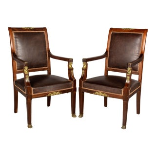French Empire Style Arm Chairs - a Pair For Sale