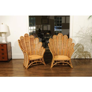 Majestic Restored Pair of Vintage Rattan and Wicker Palm Frond Club Chairs Preview