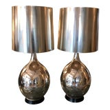 Image of 1960s Mid Century Modern Monumental Silver Leaf Table Lamps - a Pair For Sale