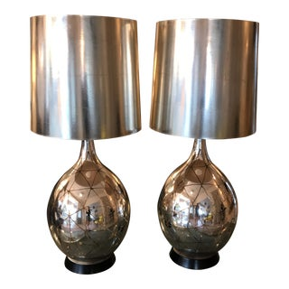 1960s Mid Century Modern Monumental Silver Leaf Table Lamps - a Pair For Sale