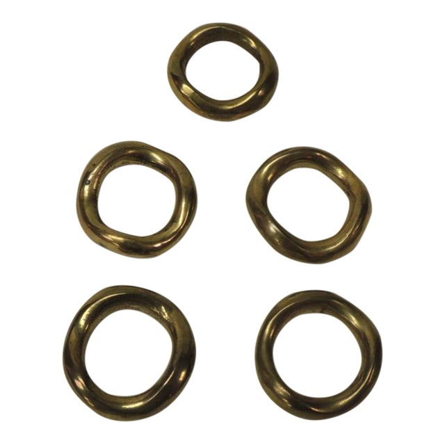 Set of 5 Solid Brass Ralph Lauren Ribbon Napkin Holders For Sale
