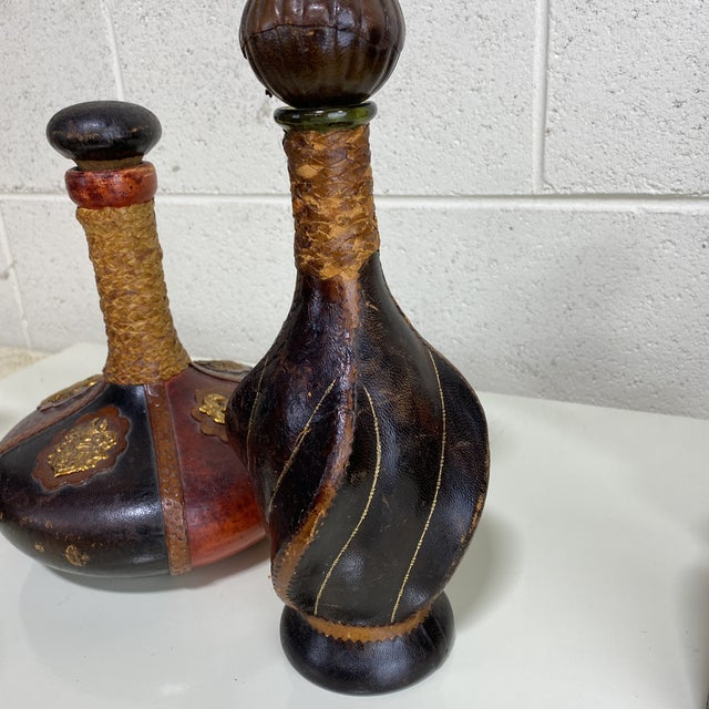 Italian Tooled Leather Liquor Decanters - Set of 3 For Sale In Richmond - Image 6 of 13