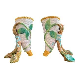 George Jones Majolica Vases White Wicker, Turquoise Lined, English, 1875 - a Pair For Sale