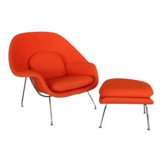 Classic Eero Saarinen Knoll Womb Chair With Ottoman