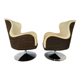 Palecek Metro Swivel Wing Seagrass and Chrome Chairs - a Pair For Sale