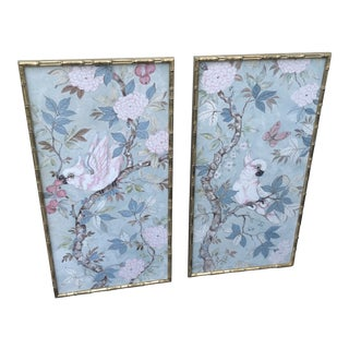 Chinoiserie Cockatoo Printed Panels in Gilded Bamboo Frames - a Pair