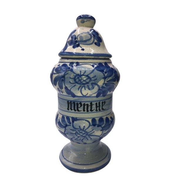 Ceramic Vintage French Quimper Breton Apothecary Jar For Sale - Image 7 of 7
