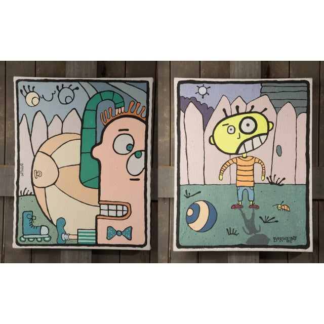 Borsellino Outsider Art Paintings - a Pair For Sale - Image 13 of 13