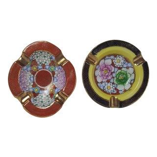 H.P. Goldcastle Asian Motif Ashtrays - A Pair For Sale