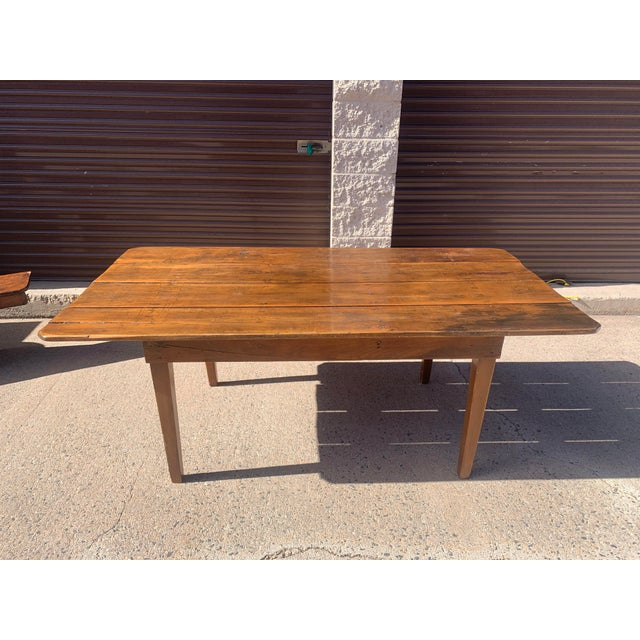 Wood Rustic Barnwood Plank Top Dining Table For Sale - Image 7 of 13