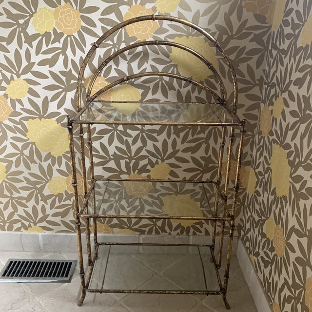 Shabby Chic Gilt Metal Faux Bamboo Etagere For Sale - Image 3 of 12