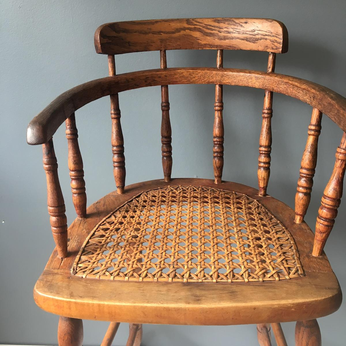 Antique Caned Seat Oak Youth Chair   Image 3 Of 10