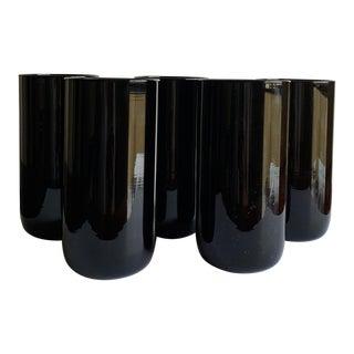 Black Amethyst Highball Glasses - Set of 5 For Sale