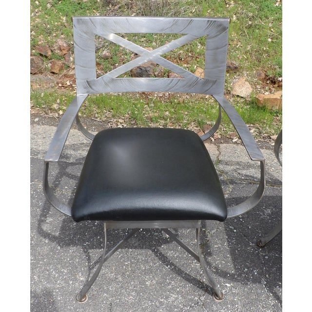 "Metal Vintage Mid Century Arthur Umanoff for Shaver Howard ""X"" Chairs- Set of 4 For Sale - Image 7 of 13"