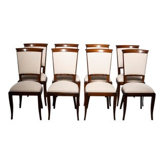 Mid-Century Polished Beech Chairs With New Upholstery - Set of 8 For Sale