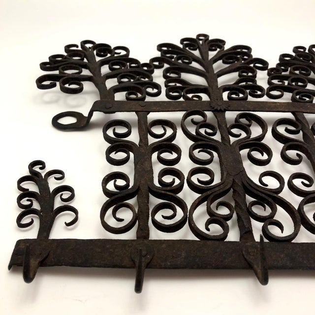 Metal Antique Hand Forged Wrought Iron Utensils Rack, Forks and Spatula For Sale - Image 7 of 13