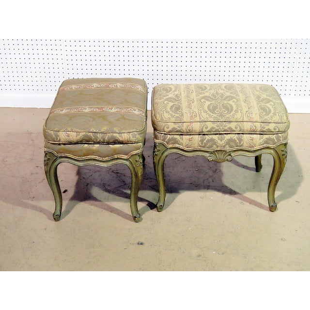 Pair of Louis XV style distressed painted benches.