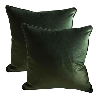 Belgian Green Silk Velvet Accent Pillows - A Pair For Sale