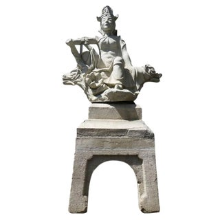Japanese Cast Stone Warrior Statue, Circa 1930 For Sale