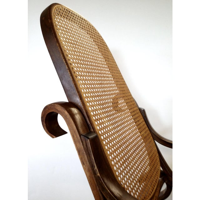 Brown Thonet-Style Cane & Bentwood Rocker For Sale - Image 8 of 10