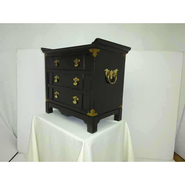 Black Lacquer Miniature 2 Drawer End Table C.1960 - Image 6 of 8