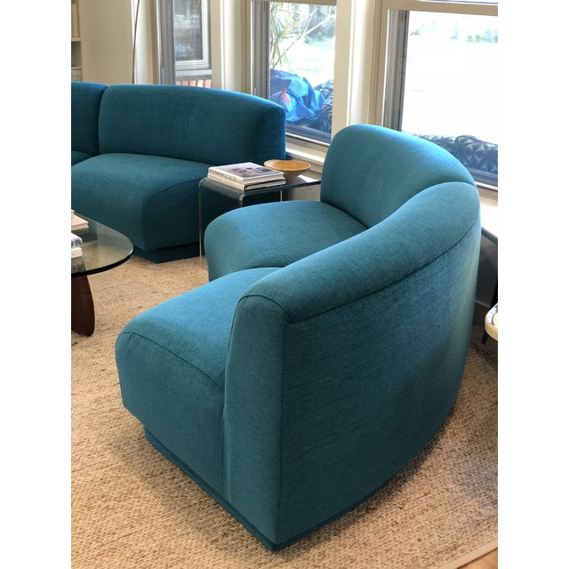 Vintage Turquoise Semi Circle Sofa - Image 7 of 9