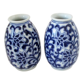 Lotus Blossom Vases, a Pair For Sale