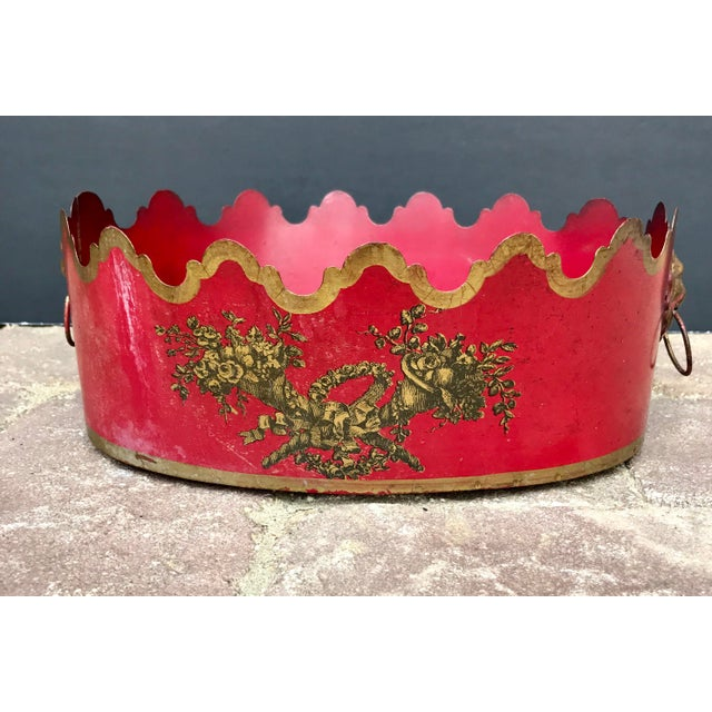 Mid 20th Century Vintage Mid Century French Tole Cache Pot Jardinière For Sale - Image 5 of 9