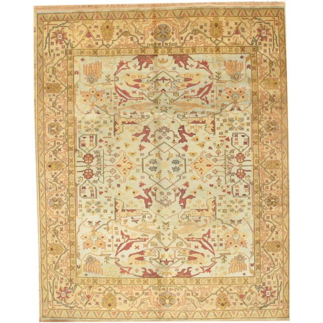 Traditional Pasargad Ny Oushak Design Hand-Knotted Rug - 9′ × 11′4″ For Sale - Image 3 of 3