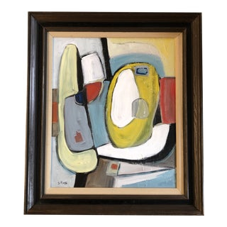 Original Contemporary Stewart Ross Modernist Abstract Painting Vintage Frame For Sale
