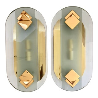 Fratelli Martini Luce Brass & Glass Sconces For Sale